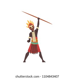 Warlike black native man of African tribe holding spear vector Illustration on a white background