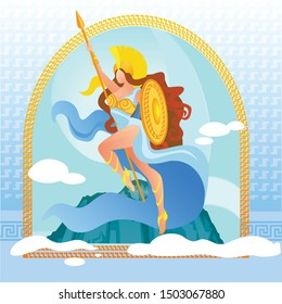 Warlike Goddess Athena in Golden Armor on Top of Olympus Mountain with Clouds in Sky. Deity of Victorious War in Greek Culture. Athletic Woman Holding Shield and Spear Cartoon Flat Vector Illustration