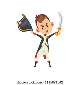 Warlike Napoleon Bonaparte cartoon character holding hat and sword in his hands, comic French historical figure vector Illustration on a white background
