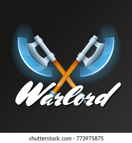 Warlord game element with crossed fantasy axes. Shiny medieval weapon for computer game design. Confrontation versus sign, fight opposition concept, epic battle competition vector illustration.