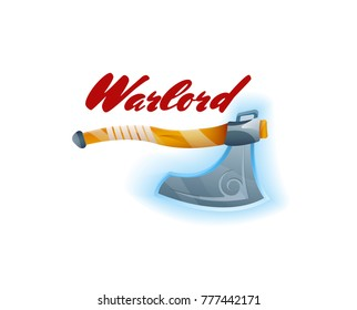 Warlord game element with tomahawk. Shiny medieval weapon for computer game design. Confrontation versus sign, fight opposition concept, epic battle competition vector illustration.