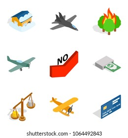 Warlord icons set. Isometric set of 9 warlord vector icons for web isolated on white background