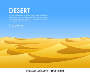 Warm barren desert with yellow sand dunes and blue sky. Vector illustration.