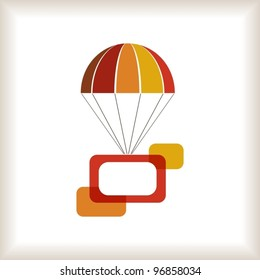 Warm colored flying parachute with frames composition. Vector illustration.