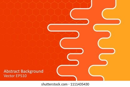 Warm colors abstract vector background with hexagon net pattern and gradient effect. Modern style template design.