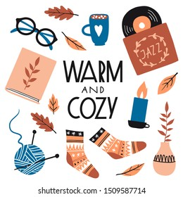 Warm and cozy. Illustration with cute things and objects for home interior, books, socks, candle, cacao. Flat style hand drawn elements isolated on white. Comfortable lifestyle. Autumn or winter mood