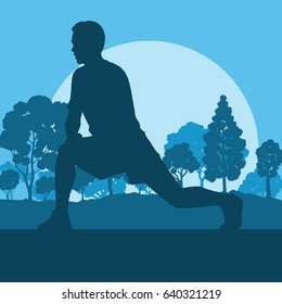 Warm up exercise man in park vector background landscape with trees