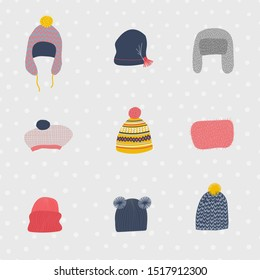 Warm funny hats earlaps set winter seamless pattern Cold season bobble knitting cap. Cute, simple vector snowfall colorful head postcard graphic design paper cutout geometric style yellow print