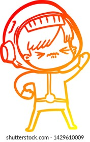 warm gradient line drawing of a angry cartoon space girl