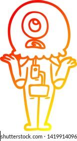 warm gradient line drawing of a cartoon cyclops alien spaceman shrugging shoulders