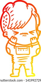warm gradient line drawing of a cartoon annoyed hipster girl wearing space suit