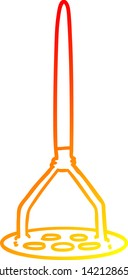 warm gradient line drawing of a cartoon potato masher