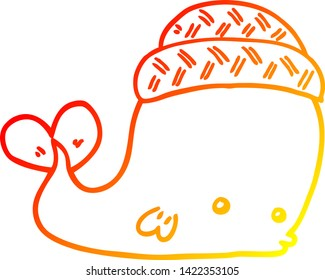 warm gradient line drawing of a cartoon whale wearing hat