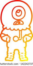 warm gradient line drawing of a cartoon cyclops alien spaceman