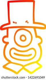 warm gradient line drawing of a cartoon cyclops in top hat