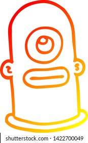 warm gradient line drawing of a cartoon cyclops face