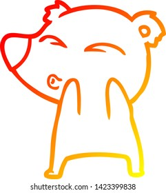 warm gradient line drawing of a cartoon whistling bear