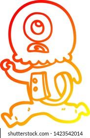 warm gradient line drawing of a cartoon cyclops alien spaceman running