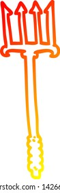 warm gradient line drawing of a cartoon gold trident