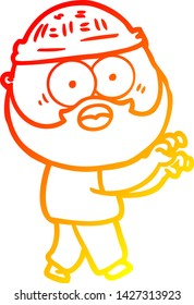 warm gradient line drawing of a cartoon bearded man grasping