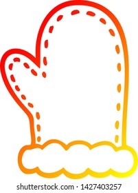 warm gradient line drawing of a cartoon oven mitts
