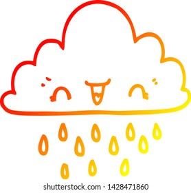 warm gradient line drawing of a cartoon storm cloud