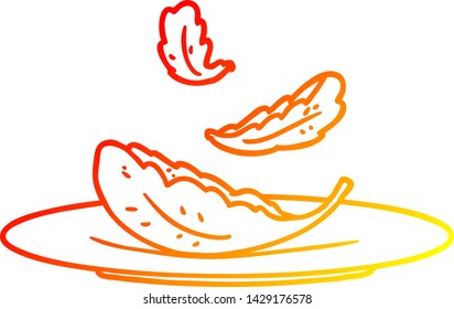 warm gradient line drawing of a cartoon salad leaves