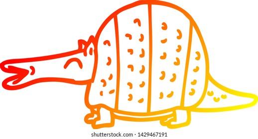warm gradient line drawing of a cartoon armadillo