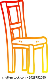 warm gradient line drawing of a cartoon wooden chair
