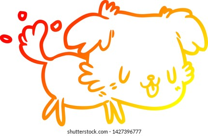 warm gradient line drawing of a cute dog wagging tail