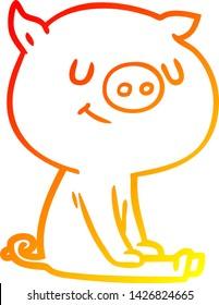warm gradient line drawing of a happy cartoon pig sitting