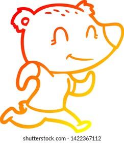 warm gradient line drawing of a healthy runnning bear cartoon