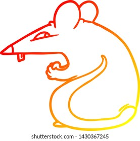 warm gradient line drawing of a sly cartoon rat