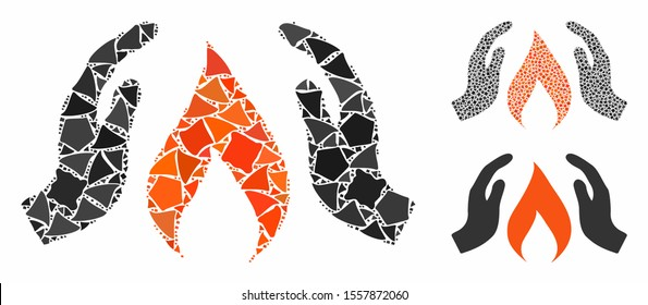 Warm up hands composition of raggy items in various sizes and color hues, based on warm up hands icon. Vector bumpy dots are combined into composition. Warm up hands icons collage with dotted pattern.