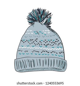 Warm hat with pompon. Color sketch vector illustrations isolated on white background. Hand drawn woolen hat with a fluffy pompom. Winter accessory. Knitted clothes.