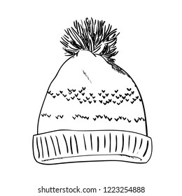 Warm hat with pompon. Sketch vector illustrations isolated on white background. Hand drawn woolen hat with a fluffy pompom. Winter accessory. Knitted clothes.