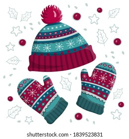 Warm knitted hat and mittens. Cute winter accessories cap and gloves isolated on white background. Vintage pattern wear design. Christmas flat vector illustration.