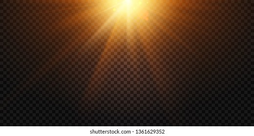 Warm light rays. Magic lights lens flare, sun flash and lamp flares. Sky beams reflection, sunset fiery glow or sun rays explosion isolated vector illustration