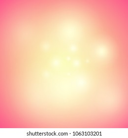 Warm Orange Background with Glow, Shine and Glitters. Vector Holiday Illustration with Magical Mood.