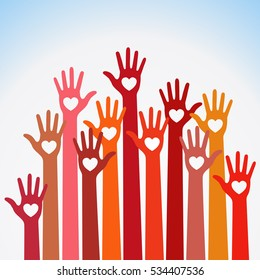 Warm red yellow orange pink colors colorful caring up hands hearts vector logo design element. Volunteers hands up with heart emblem  icon for education, health care, medical, volunteer, vote.