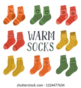 Warm socks. Set of pairs of hand drawn cute warm socks with lettering. Vector illustration with white background.