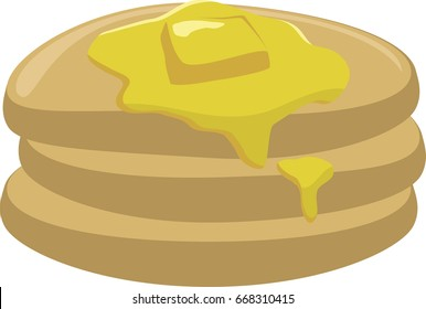 A warm stack of pancakes with melting butter on top