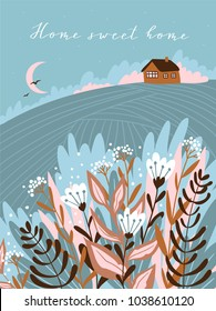 Warm summer night in the village. Cute vector illustration. Hand drawn rustic poster design with text - Home sweet home.