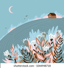 Warm summer night in the village. Cute vector illustration. Hand drawn rustic poster design - Home sweet home.