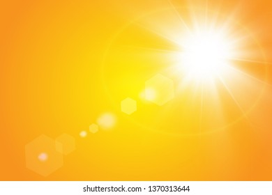 Warm sun on a yellow background. Leto.bliki solar rays