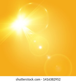Warm sun on a yellow background. Leto.bliki solar rays.Оrange yellow background.