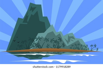warm tropical island Vector illustration with mountain