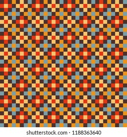 Warm vintage colored pixel pattern, with simplified flowers. Trendy abstract retro style, seamless repeat. Great for interior design & home decor, paper products, apparel design, scrapbooking etc.