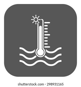 The warm water temperature icon. Hot liquid symbol. Flat Vector illustration. Button
