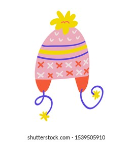 Warm winter beanie hat with ornaments and pom pom and ear flaps for winter weather. Hand drawn cute doodle